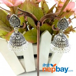 Silver Tone Oxidized Pinjada Earrings (40 MM)