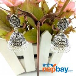 Silver Tone Oxidized Pinjada Earrings (40 MM)