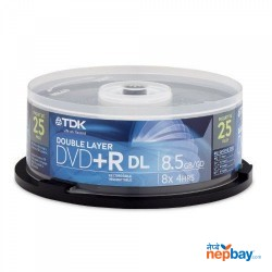TDK DVD+R 8x Dual Layer with Branded Surface Spindle Blank Disc