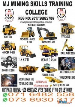 Douzer training @ 0716482558 / 0736930317 at MJ Mining in Delmas , Belfast , Witbank
